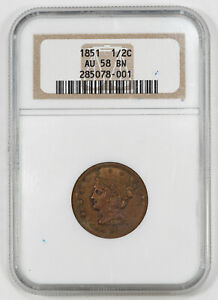 1851 BRAIDED HAIR HALF CENT 1/2C NGC AU 58 BN BROWN ABOUT UNCIRCULATED (001)