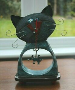 Cat and mouse mantel clock, Allen Designs, ceramic art, quirky, great condition