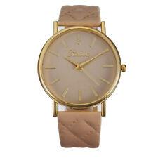 UK Seller Cool Gift Womens CARAMEL PVD Quartz Dress Watch Quilted Strap