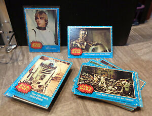 Vintage 1977 Topps Star Wars Blue Cards Near Set with #1 Luke Skywalker!