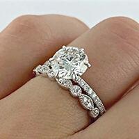 Real 10k White Gold 2 Ct Diamond Engagement Ring Wedding Band Bridal Set