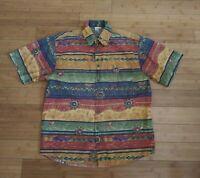🌞 Vtg The Territory Ahead Short Sleeve Hawaiian Shirt Aztec Mayan Size Large L
