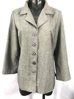Jaclyn Smith Womens Size S Gray Blazer Jacket Lightweight Top Button Up Career