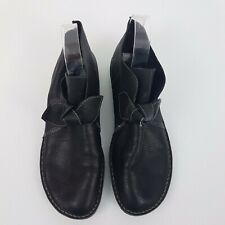 Gamins Black Short Ankle Boots w Bow SZ 42 Sincere Leather Comfort Flat Shoes