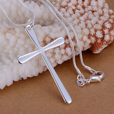 925Sterling Silver Jewelry Men Cool Large Cross Pendant Necklace 18inch P066
