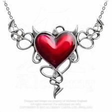 Rockabilly Collier Kette Herz Gothic Anhänger Amulett ALCHEMY Devil Heart ULFP25