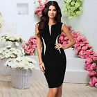 Women Smart Bodycon Sleeveless Party Cocktail Pencil Dress Black Vestido