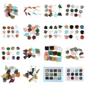 12Pcs/box Wholesale Natural Crystal Gemstone Charms Necklaces Pendants Earrings