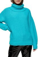 Topshop Mixed Stitch Turtleneck Sweater Top Size 8/10 Teal Blue NEW Tag B60