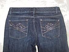 Womens White House Black Market WHBM Blanc Boot Size 8R Blue Jeans Whiskers EUC