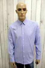 HUGO BOSS Taglia XL Camicia Uomo Cotone Shirt Blu Chemise Casual Manica Lunga