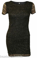 NEW LADIES BLACK SILVER SPARKLY SEXY WIGGLE PENCIL PARTY COCKTAIL DRESS SIZE S-L