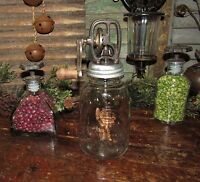 Primitive Antique Vtg Style Mason Butter Churn Glass Jar 1858 Cast Iron Crank