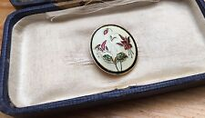 Enamel Floral Brooch/Vintage Style/Gold Tone/Cream Coloured/Retro Pin/Oval