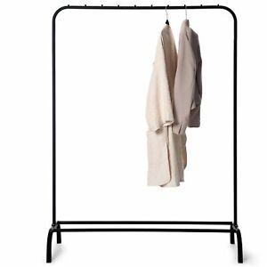 Metal Clothes Hanging Rail With Shoe Rack/Storage Shelf, Smooth Black Finish