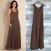 Soft Surroundings Santiago Maxi Tank Dress Brown Pocket Womens Small Petite SP