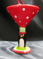Meet Me Under The Mistletoe Martini Glass Penguin Ceramic Christmas Ornament