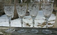 Set of 4 Crystal Chintz Etching Wine /Water Glasses with Beautiful Stems