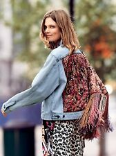 NEW Free People Paisley Quilted Denim Jacket Retail Size M/L $198 LOVE THIS!