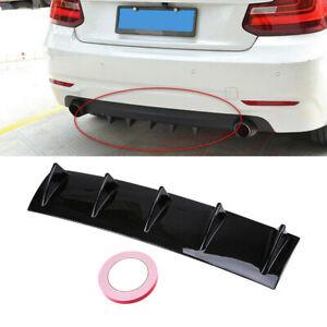 Universal Carbon Black Car Rear Bumper Lip Diffuser 5 Shark Fin Back Splitter