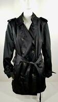 Joan Rivers Classic Trench Coat Black Cheetah Lining Size XL QVC Women's