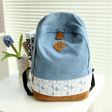 Girls Women's Lace Denim Travel Satchel Backpack Rucksack Shoulder School Bag