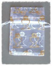 4 White & Gold Organza Drawstring Rosary POUCHES ~ 1st FIRST COMMUNION Chalice