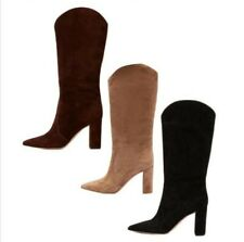 Women Pointy Toe Suede Fabric Block High Heel Pull On Knee High Knight Boots L