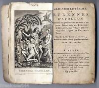 Almanach Littéraire ou étrennes d'Apollon Lucas-Rochemont 1è année an 9 -1801