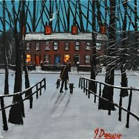 Superb James Downie Original Oil Painting - Walking The Dogs In The Snow