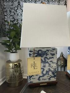 RALPH LAUREN Porcelain Blue And White Mandarin Dragon LAMP w/ SHADE NWT