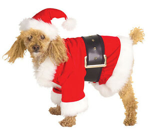 Velour Santa Claus Coat Red Cute Dress Up Christmas Holiday Pet Dog Cat Costume