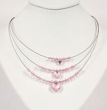 Delicate Three Strand Pink Necklace
