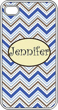 Personalized iPhone 4 4S Monogrammed Blue Chevron Design Hard Case Cover