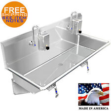 "HAND SINK INDUSTRIAL 40"" 2 USERS KNEE VALVE STAINLESS STEEL BASIN MADE IN USA"