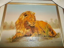 original C. CARSON MAJESTIC LION OIL PAINTING approx. 13x15 artist signed