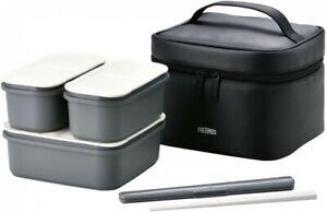 THERMOS Japanese Fresh Lunch Big Bento Box DJF-1800 BK Black Plastic