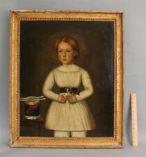 19thC Antique Primitive Folk Art Portrait Oil Painting, Young Boy w/ Drum & Bird