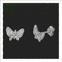 Ohrstecker Ohrring Schmetterling 925 Silber stabil massiv mit Zirkonia Kinder