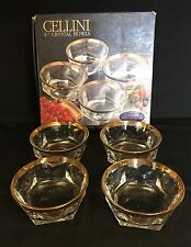 """Cellini Crystal set of 4 bowls 4 3/4"""" 24Kt Gold Rim  Italy"""