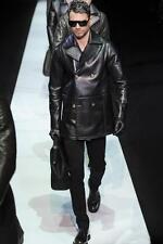 Emporio Armani Crackled Lambskin Leather Peacoat EU48 Medium RRP £1760 Jacket