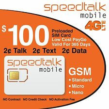$100 Prepaid GSM SIM Card Preloaded NO CONTRACT 1 Year Wireless Service