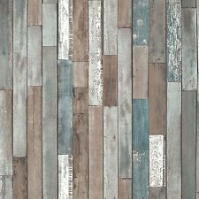 WOOD PLANKS WALLPAPER - BLUE - FD40888 - NEW WOODEN RECLAIMED FINE DECOR