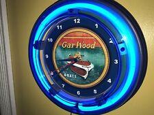 Gar Wood Fishing Boat Motor Garage Man Cave Blue Neon Clock Sign