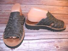 Gray Leather Sandals Strappy Woven Slip On Chubasco Mens 5 Womens 7 Unisex