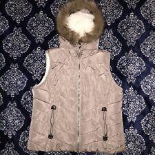 Green Tea Womens Puffer Vest Fleece Lined Faux Fur Trim Hood Size XL