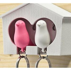 Bird Key Holder Sparrow Whistle House Chain Wall Mount Hook Hanger Rack~