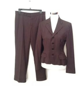 Ralph Lauren Black Label Suit 8 Brown Stripe Jacket Pants Wool Women's Career