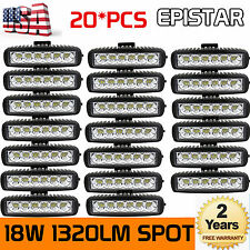 20Pcs 18W 6''inch Spot Beam LED Work Light Bar Driving Off Road UTE Single Row