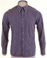 TOMMY HILFIGER Mens Shirt Medium Blue Striped Cotton  FN16